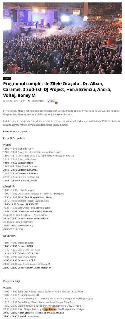 Programul complet de Zilele Orasului. Dr. Alban, Caramel, 3 Sud-Est, DJ Project, Horia Brenciu, Andra, Voltaj, Boney M (portalsm.ro)