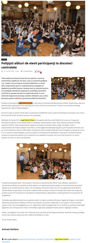 Politistii alaturi de elevii participanti la discoteci controlate (portalsm.ro)
