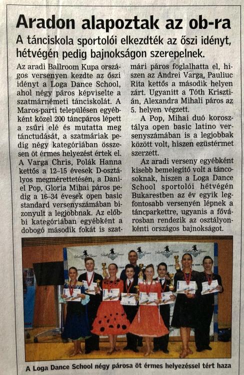 Aradon alapoznak a Loga Dance School 4 parosa az Orszagos Bajnoksagra (Friss Ujsag)