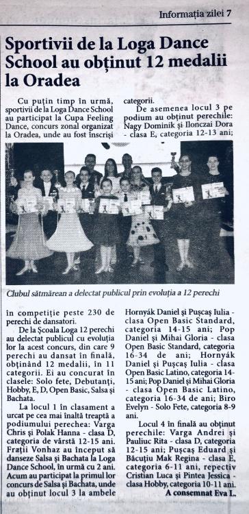 Sportivii de la Loga Dance School au obtinut 12 medalii la Oradea (Informatia Zilei)