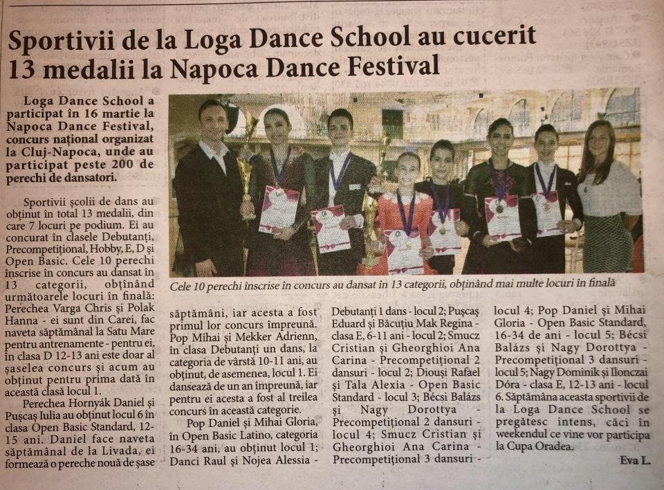 Sportivii de la Loga Dance School au cucerit 13 medalii la Napoca Dance Festival (Informatia Zilei)