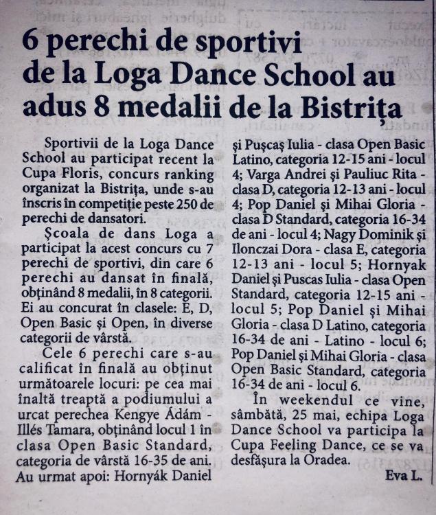 6 perechi de sportivi de la Loga Dance School au adus 8 medalii de la Bistrita (Informatia Zilei)