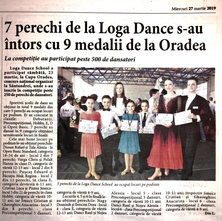 7 perechi de la Loga Dance School s-au intors cu 9 medalii de la Oradea (Informatia Zilei)