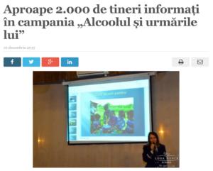"""Aproape 2.000 de tineri informati in campania """"Alcoolul si urmarile lui"""". (satmareanul.net)"""