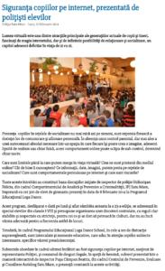 Siguranta copiilor pe internet, prezentata de politisti elevilor (satumareonline.ro)