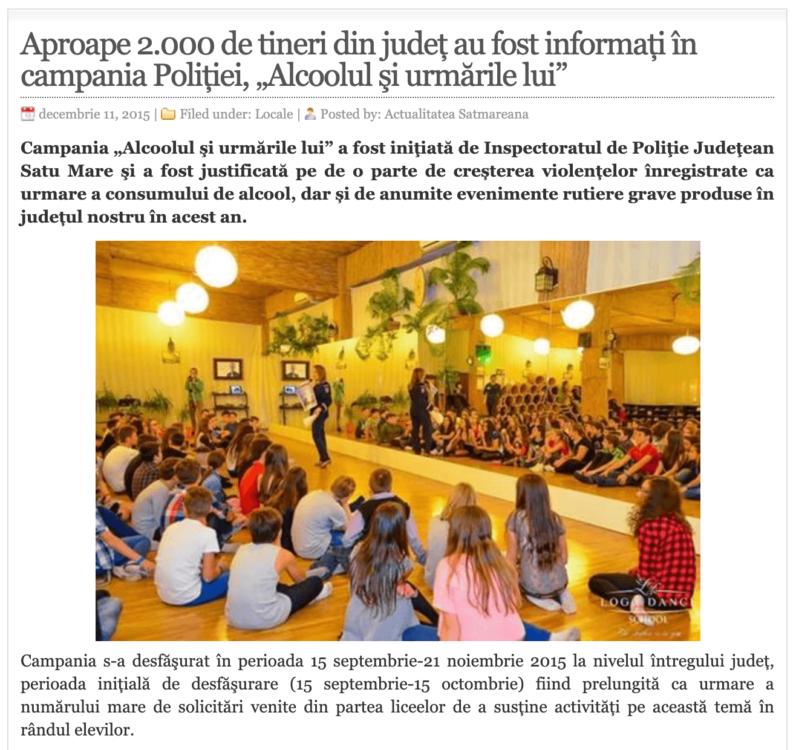 """Aproape 2.000 de tineri din judet au fost informati in campania Politiei, """"Alcoolul si urmarile lui""""! (actualitateasm.ro)"""