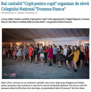 "Bal caritabil ""Copii pentru copii"" organizat de elevii Colegiului National ""Doamna Stanca"" (satumareonline.ro)"