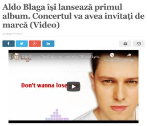 Aldo Blaga isi lanseaza primul album. Concertul va avea invitati de marca. (satmareanul.net)