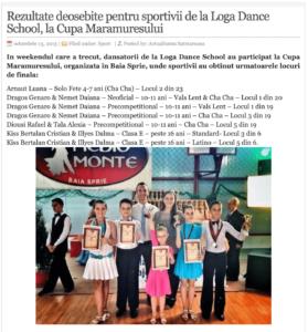 Rezultate deosebite pentru sportivii de la Loga Dance School, la Cupa Maramuresului. (actualitateasm.ro)