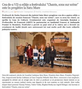 """Cea de-a VII-a editie a festivalului """"Chants, sons sur scene"""" este in pregatire la Satu Mare! (actualitateasm.ro)"""