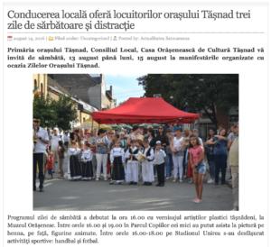 Conducerea locala ofera locuitorilor orasului Tasnad trei zile de sarbatoare si distractie! (actualitateasm.ro)