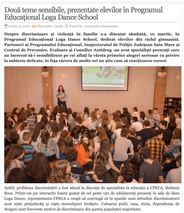 Doua teme sensibile, prezentate elevilor in Programul Educational Loga Dance School. (actualitateasm.ro)