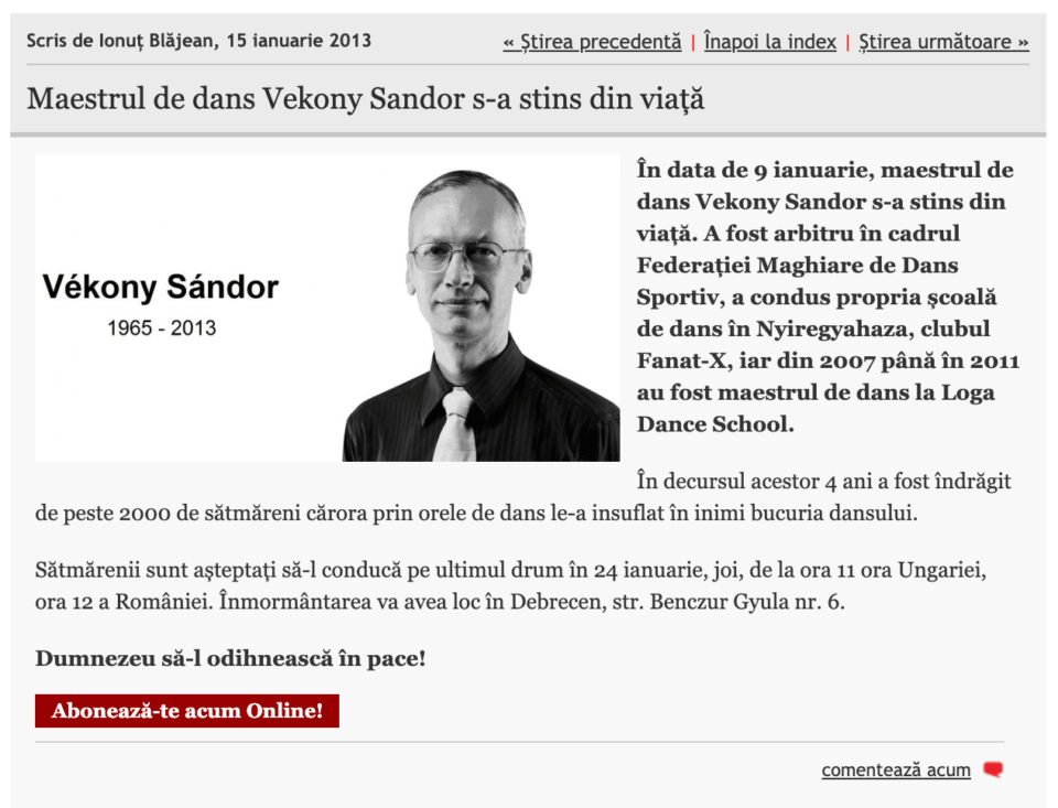 Maestrul de dans Vekony Sandor s-a stins din viata (informatia-zilei.ro)