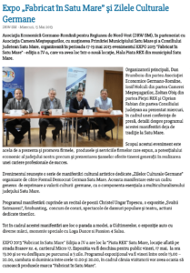 "Expo ""Fabricat in Satu Mare"" si Zilele Culturale Germane (satumareonline.ro)"