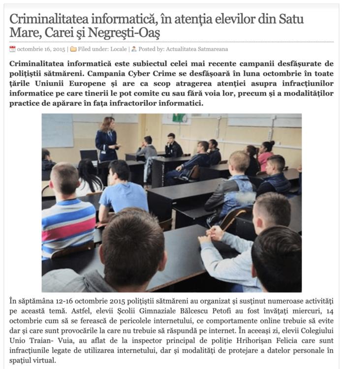 Criminalitatea informatica, in atentia elevilor din Satu Mare, Carei si Negresti-Oas! (actualitateasm.ro)
