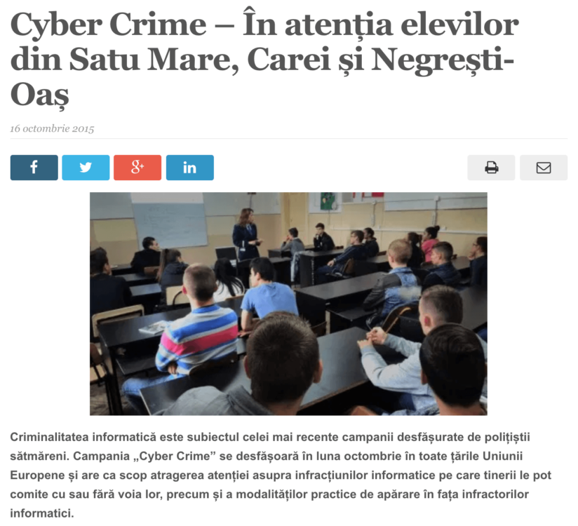 Cyber Crime – In atentia elevilor din Satu Mare, Carei si Negresti-Oas. (satmareanul.net)