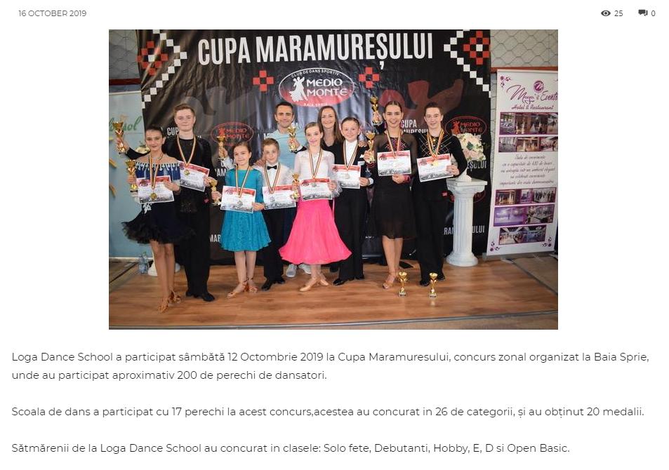 Loga Dance School a participat sambata 12 Octombrie 2019 la Cupa Maramuresului! (gazetanord-vest.ro)