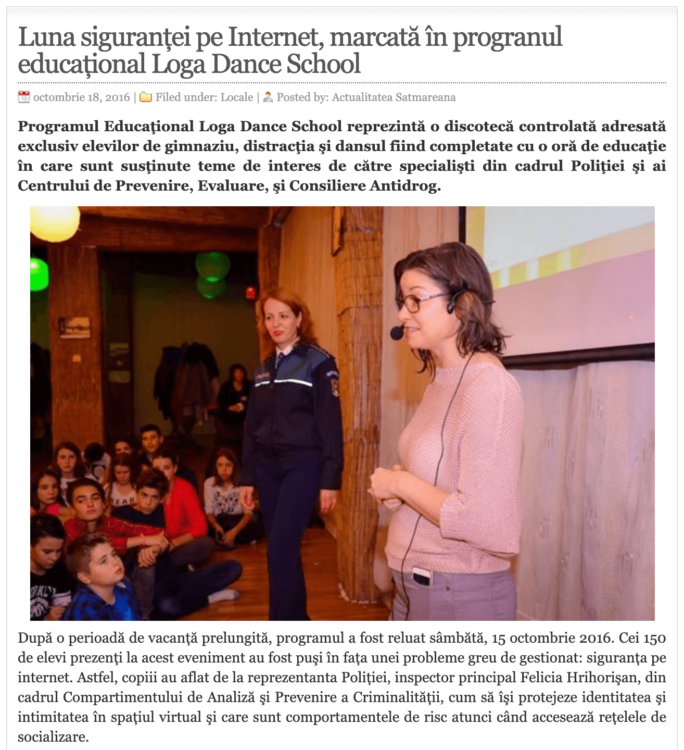 Luna sigurantei pe Internet, marcata in progranul educational Loga Dance School. (actualitateasm.ro)
