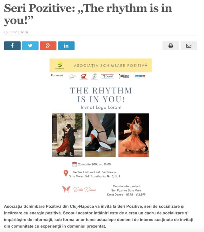 "Seri Pozitive: ""The rhythm is in you!"" (satmareanul.net)"