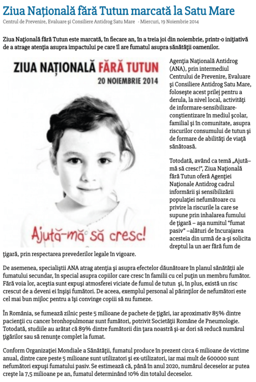Ziua Nationala fara Tutun marcata la Satu Mare (satumareonline.ro)