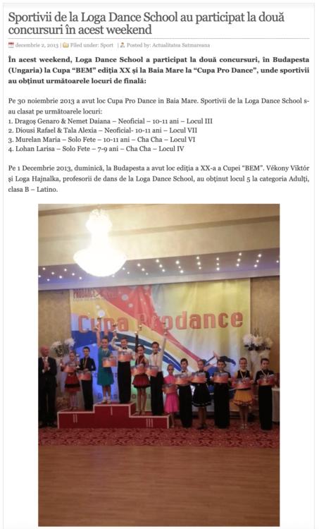 Sportivii de la Loga Dance School au participat la doua concursuri in acest weekend. (actualitateasm.ro)