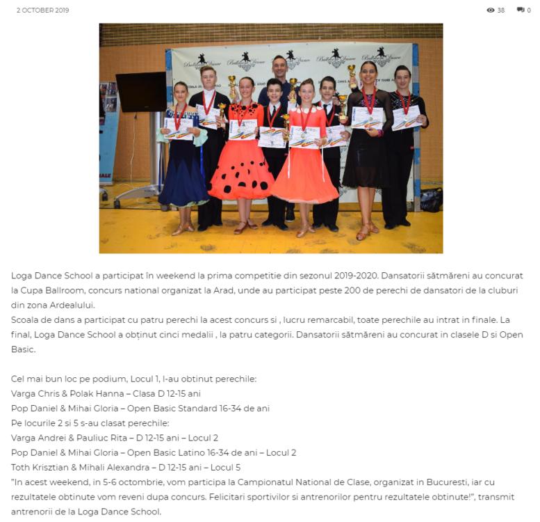 Loga Dance School a participat în weekend la prima competitie din sezonul 2019-2020! (gazetanord-vest.ro)