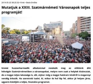 Mutatjuk a XXIII. Szatmarnemeti Varosnapok teljes programjat! (szatmar.ro)