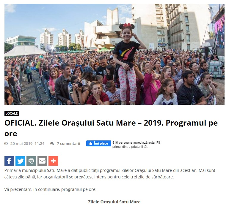 OFICIAL. Zilele Orasului Satu Mare – 2019. Programul pe ore! (portalsm.ro)