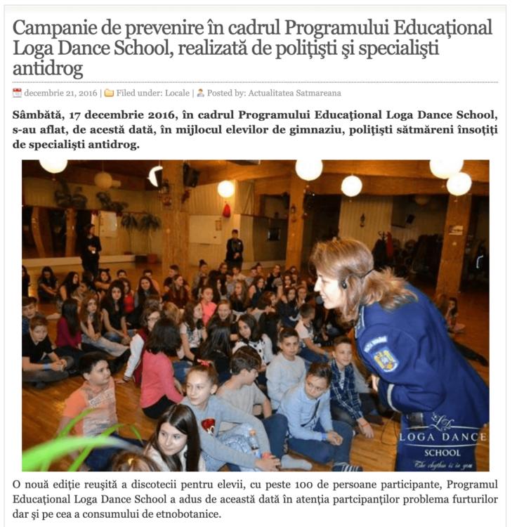 Campanie de prevenire in cadrul Programului Educational Loga Dance School, realizata de politisti si specialisti antidrog. (actualitateasm.ro)