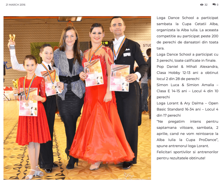 Loga Dance School a participat sambata la Cupa Cetatii Alba (gazetanord-vest.ro)