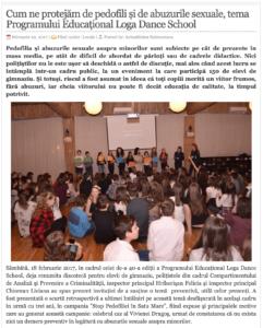 Cum ne protejam de pedofili si de abuzurile sexuale, tema Programului Educational Loga Dance School. (actualitateasm.ro)