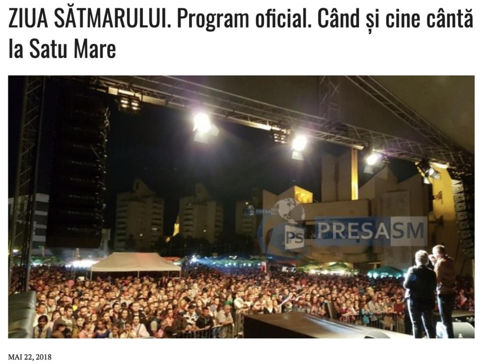 ZIUA SATMARULUI. Program oficial. Cand si cine canta la Satu Mare (presasm.ro)