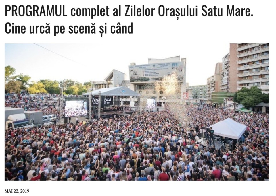PROGRAMUL complet al Zilelor Orasului Satu Mare. Cine urca pe scena si cand? (presasm.ro)