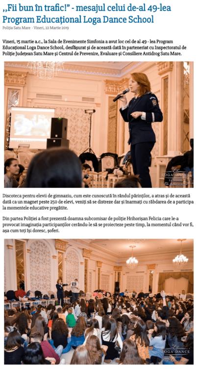 """,,Fii bun in trafic!"""" - mesajul celui de-al 49-lea Program Educational Loga Dance School (satumareonline.ro)"""