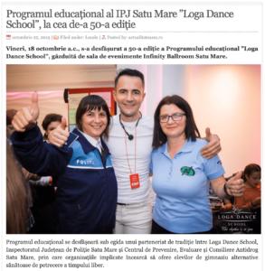 Programul educational al IPJ Satu Mare Loga Dance School, la cea de-a 50-a editie. (actualitateasm.ro)