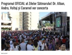 Programul OFICIAL al Zilelor Satmarului! Dr. Alban, Andra, Voltaj si Caramel vor concerta (presasm.ro)