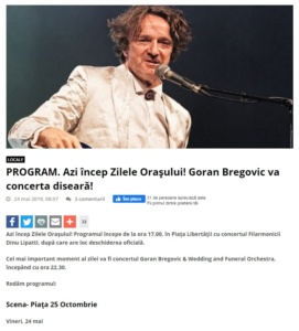 PROGRAM. Azi incep Zilele Orasului! Goran Bregovic va concerta diseara! (portalsm.ro)