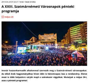A XXIII. Szatmarnemeti Varosnapok penteki programja (szatmar.ro)