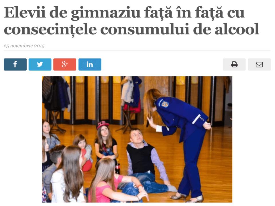 Elevii de gimnaziu fata in fata cu consecintele consumului de alcool. (satmareanul.net)