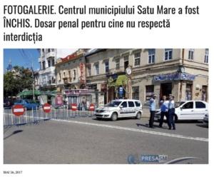 FOTOGALERIE. Centrul municipiului Satu Mare a fost INCHIS. Dosar penal pentru cine nu respecta interdictia (presasm.ro)
