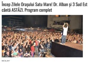 Incep Zilele Orasului Satu Mare! Dr. Alban si 3 Sud Est canta ASTAZI. Program complet (presasm.ro)