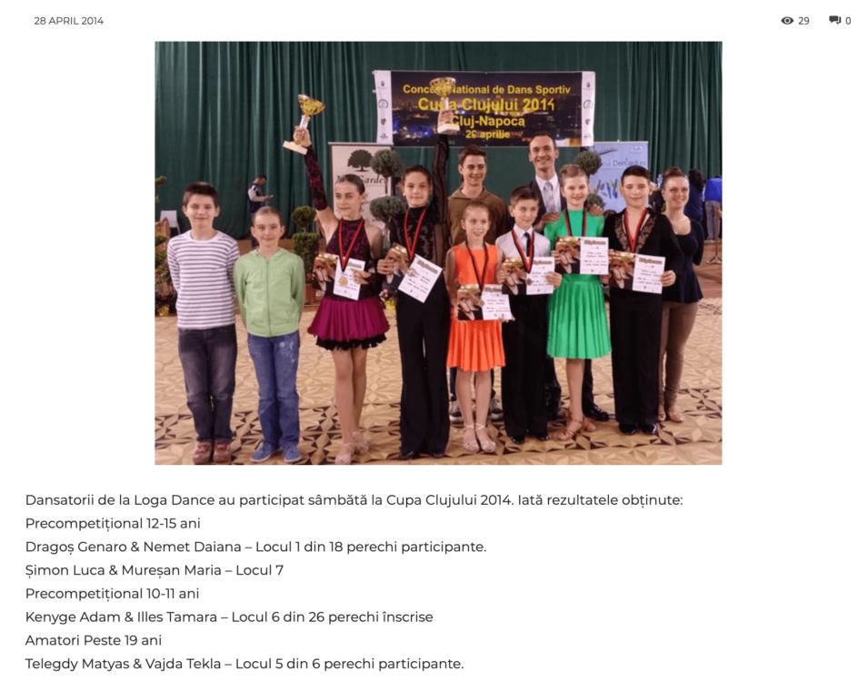Dansatorii de la Loga Dance School au participat sambata la Cupa Clujului 2014 (gazetanord-vest.ro)