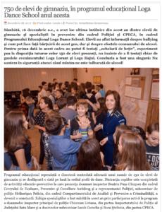 750 de elevi de gimnaziu, in programul educational Loga Dance School anul acesta. (actualitateasm.ro)