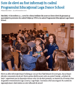 Sute de elevi au fost informati in cadrul Programului Educational Loga Dance School (satumareonline.ro)