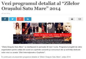 """Vezi programul de sambata a """"Zilelor Orasului Satu Mare"""" 2014. (satmareanul.net)"""