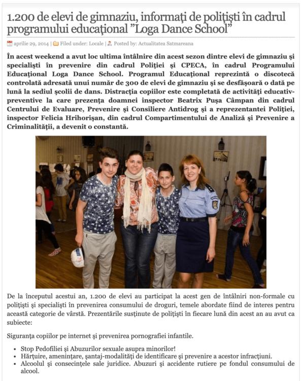 1.200 de elevi de gimnaziu, informati de politisti in cadrul programului educational Loga Dance School. (actualitateasm.ro)