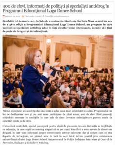 400 de elevi, informati de politisti si specialisti antidrog in Programul Educational Loga Dance School. (actualitateasm.ro)