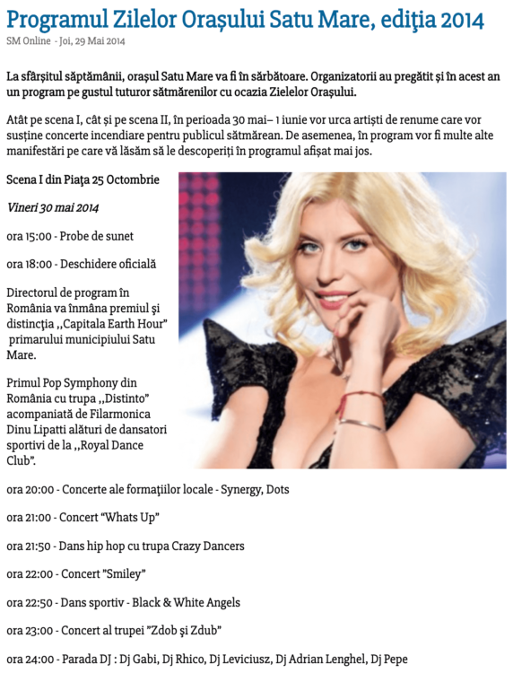 Programul Zilelor Orasului Satu Mare, editia 2014 (satumareonline.ro)