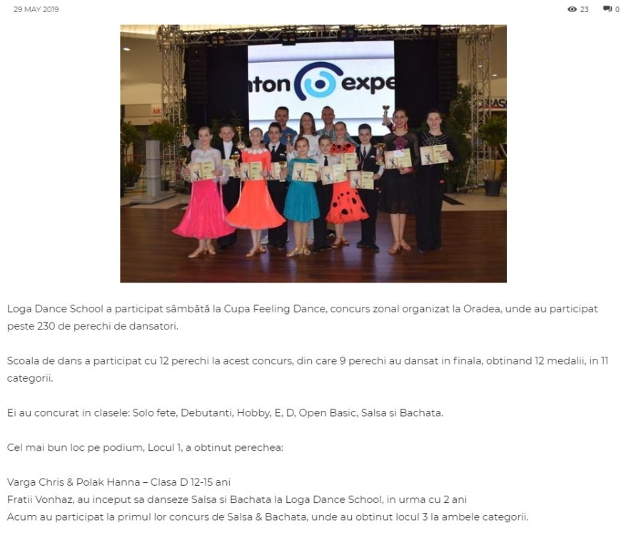 Loga Dance School a participat sambata la Cupa Feeling! (gazetanord-vest.ro)