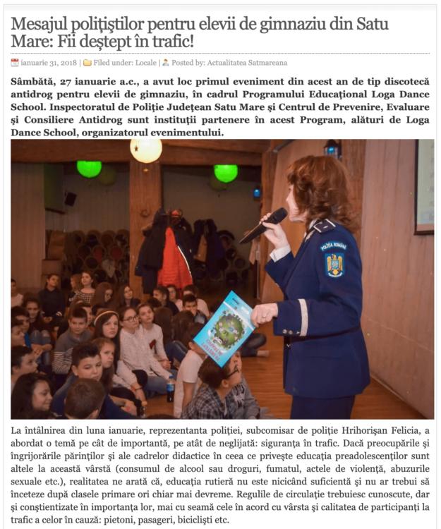 Mesajul politistilor pentru elevii de gimnaziu din Satu Mare: Fii destept in trafic! (actualitateasm.ro)